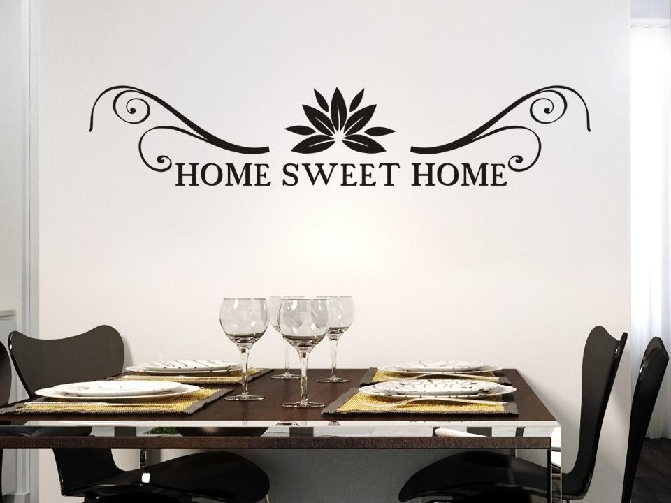 Wandtattoo home sweet home mit ornamnet und schn rkel - Wandtattoo home ...