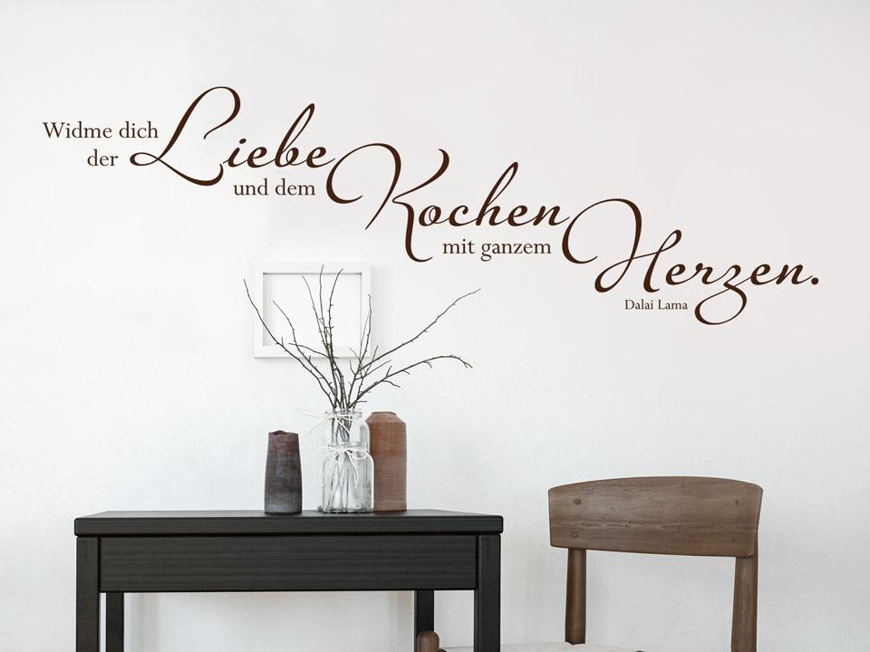 wandtattoo widme dich der liebe und dem kochen mit ganzem herzen. Black Bedroom Furniture Sets. Home Design Ideas