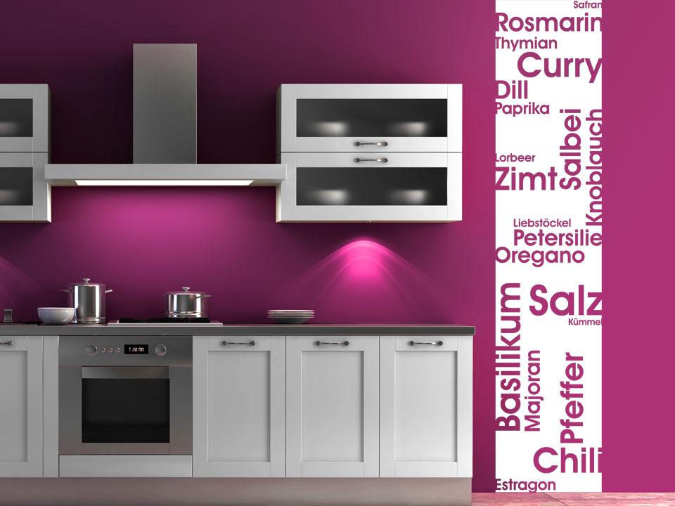 wandbanner k chen gew rze rosmarin thymian basilikum. Black Bedroom Furniture Sets. Home Design Ideas