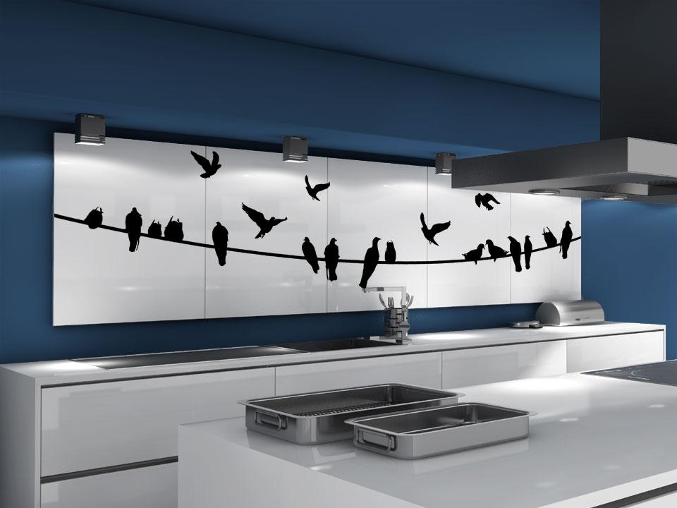 stromleitung mit vogelschwarm v gel auf der leine. Black Bedroom Furniture Sets. Home Design Ideas
