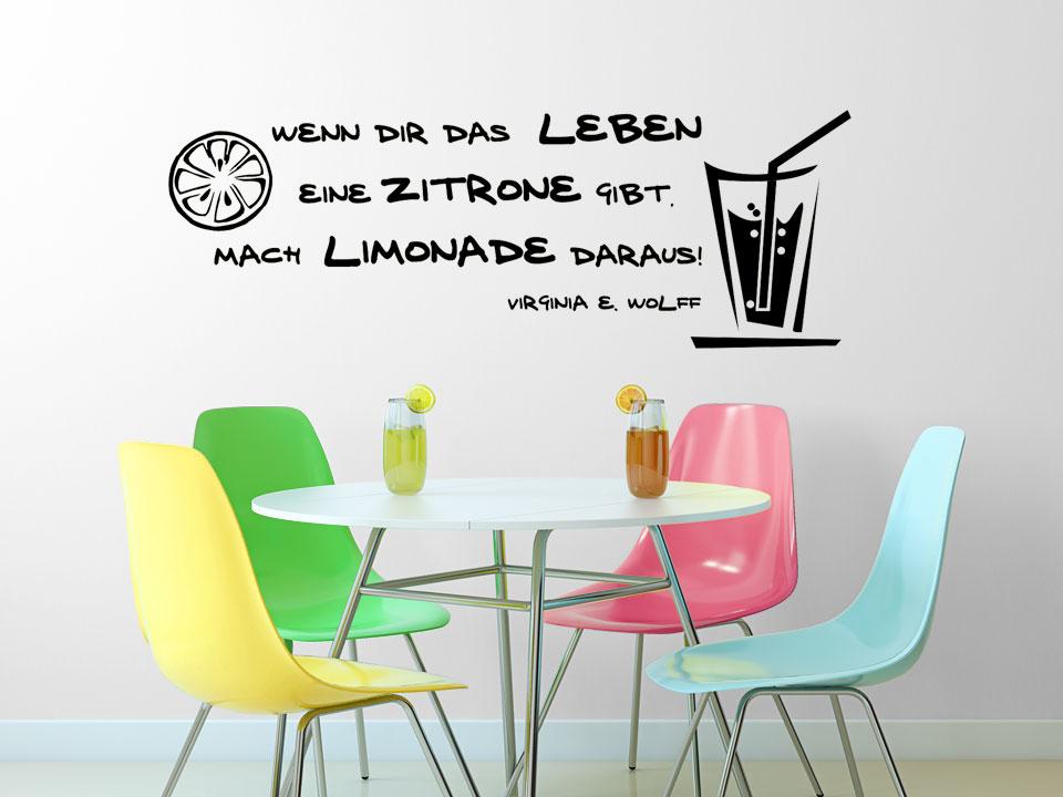 wandtattoo wenn dir das leben eine zitrone gibt mach limonade daraus. Black Bedroom Furniture Sets. Home Design Ideas