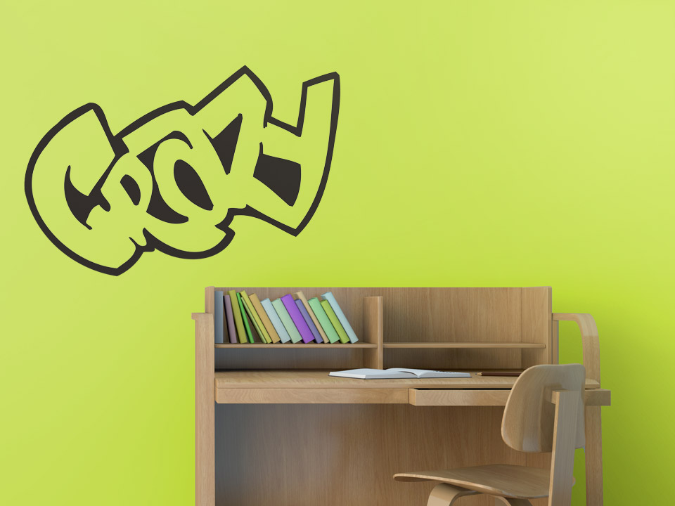wandtattoo crazy schriftzug in cooler graffiti schrift. Black Bedroom Furniture Sets. Home Design Ideas