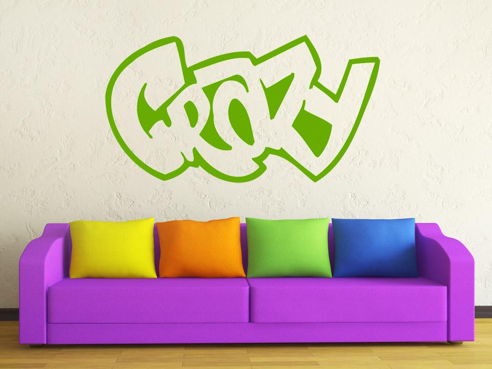 Wandtattoo crazy schriftzug in cooler graffiti schrift for Wandtattoo jugendzimmer