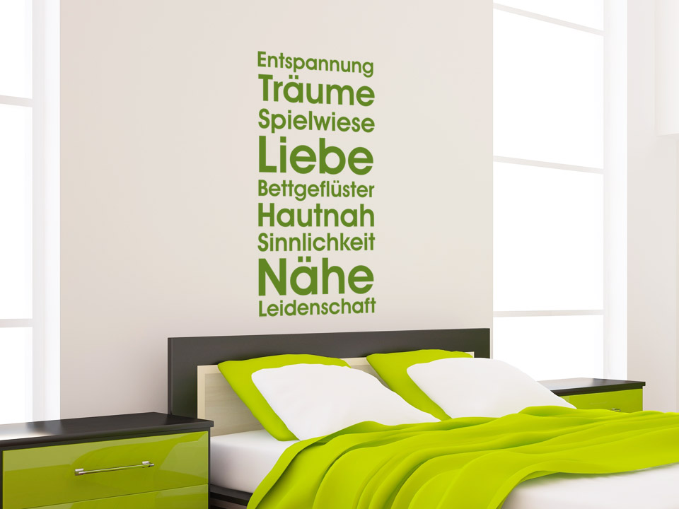 wandtattoo s es bettgefl ster entspannung tr ume spielwiese liebe. Black Bedroom Furniture Sets. Home Design Ideas