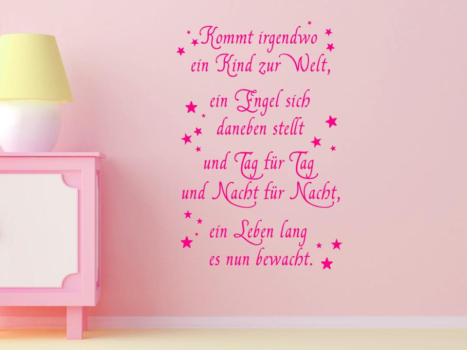 Wandtattoo Schutzengel Spruch Zur Geburt Kommt Irgendwo Ein Kind Zur