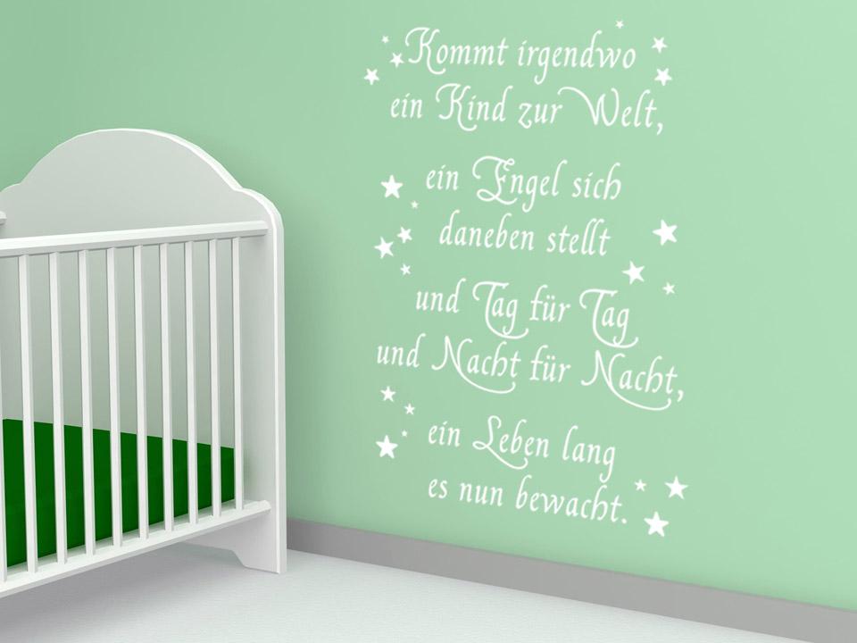 Wandtattoo Schutzengel-Spruch zur Geburt