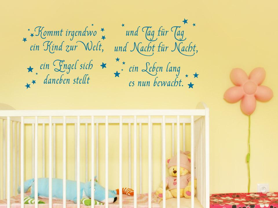 Sprüche Fürs Kinderzimmer | Wandtattoo Schutzengel Spruch Zur Geburt Kommt Irgendwo Ein Kind Zur