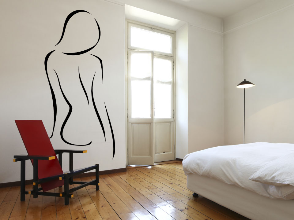 wandtattoo elegante r ckansicht frau mit sch nem r cken von hinten. Black Bedroom Furniture Sets. Home Design Ideas