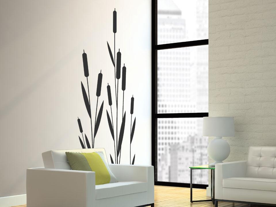 wandtattoo schilf blumen. Black Bedroom Furniture Sets. Home Design Ideas