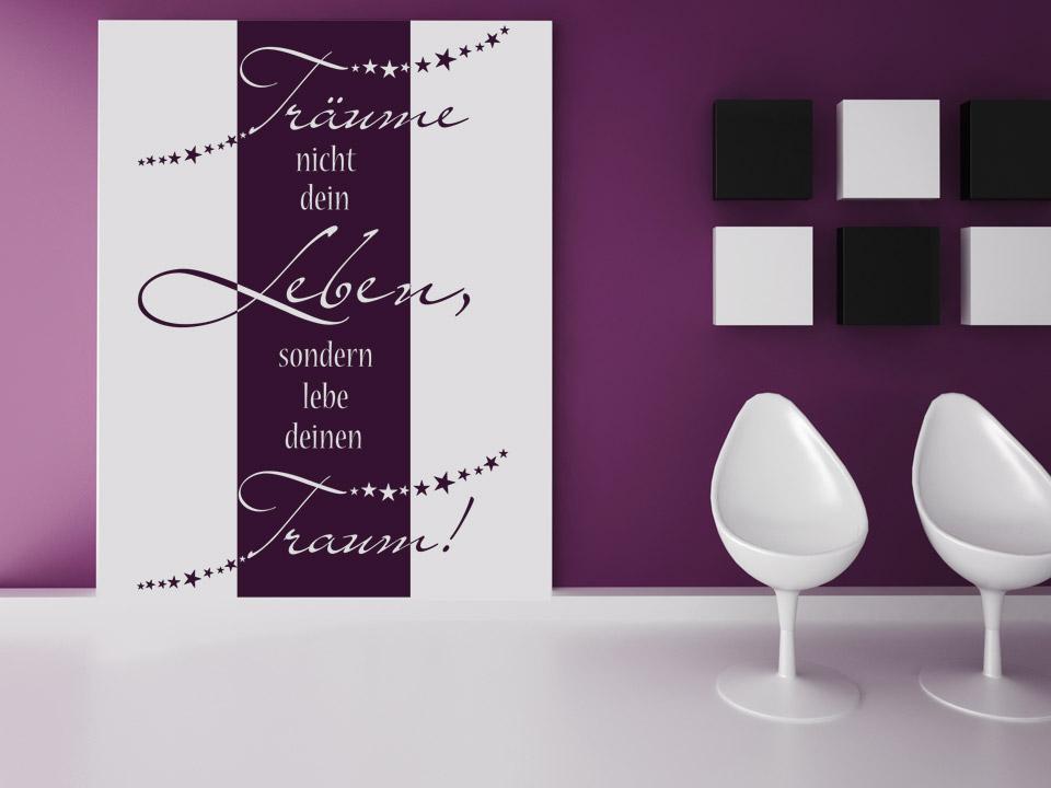 wandbanner tr ume nicht dein leben. Black Bedroom Furniture Sets. Home Design Ideas