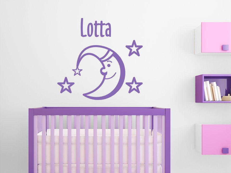 wandtattoo mond und sterne mit wunschname babyzimmer. Black Bedroom Furniture Sets. Home Design Ideas