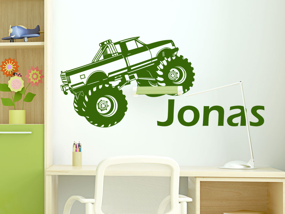 wandtattoo monstertruck mit namen f rs kinderzimmer. Black Bedroom Furniture Sets. Home Design Ideas