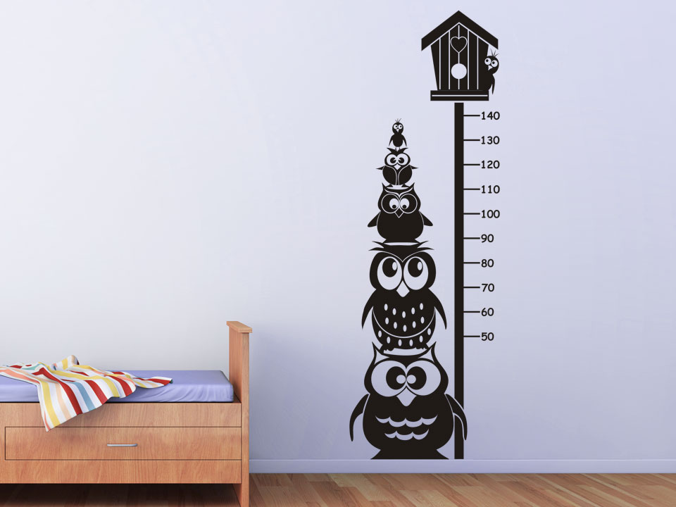 wandtattoo messlatte mit eulen f rs kinderzimmer. Black Bedroom Furniture Sets. Home Design Ideas