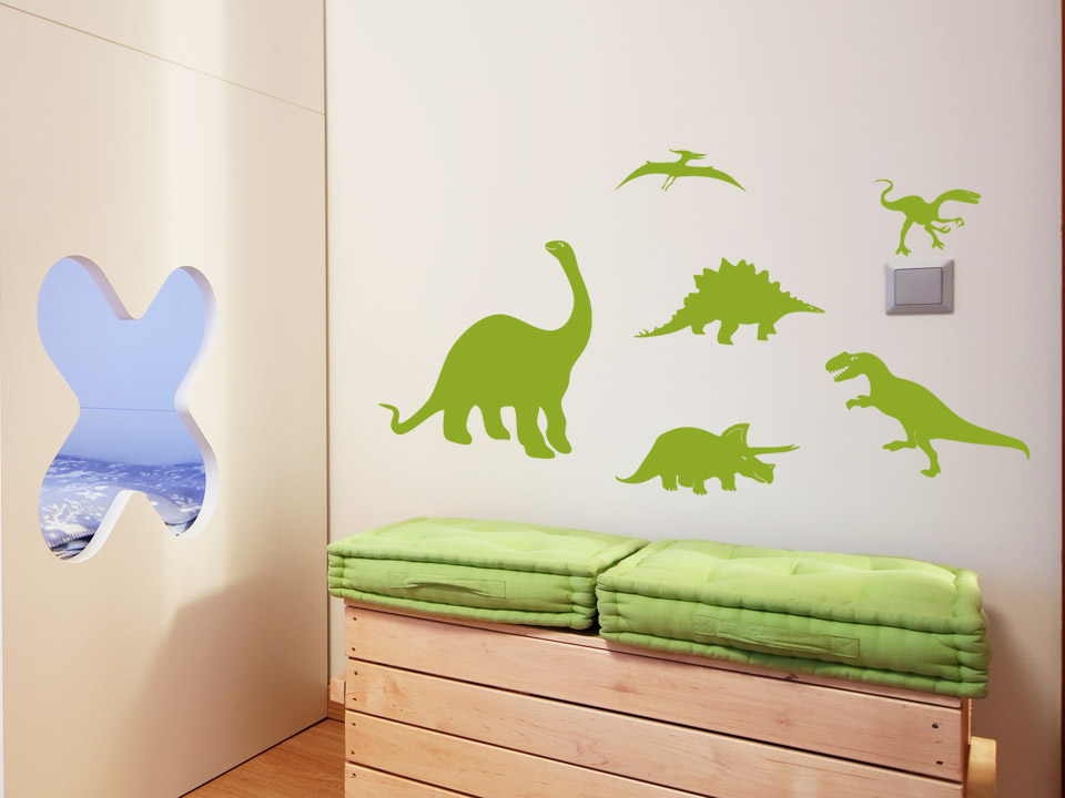 wandtattoo dinosaurier 6er set t rex co. Black Bedroom Furniture Sets. Home Design Ideas