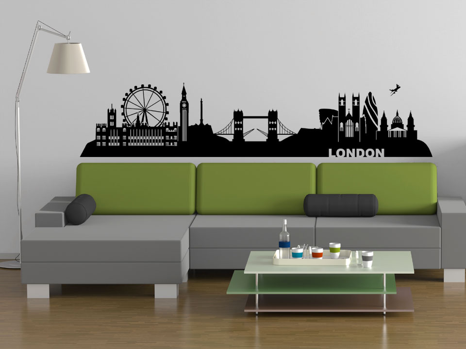 wandtattoo london skyline mit wahrzeichen. Black Bedroom Furniture Sets. Home Design Ideas
