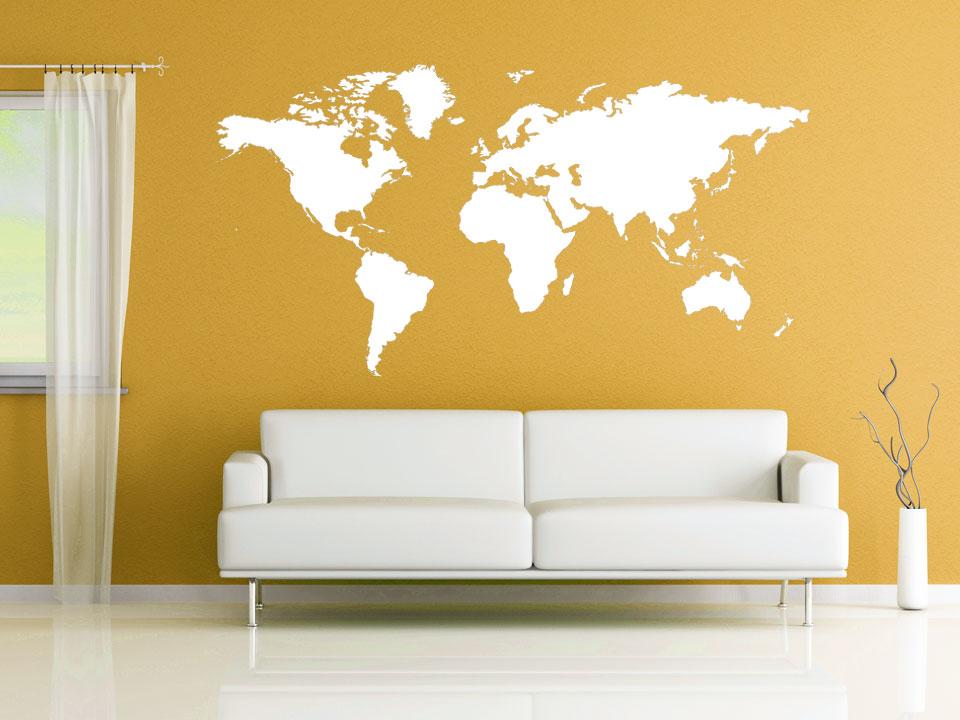 wandtattoo welt als karte. Black Bedroom Furniture Sets. Home Design Ideas
