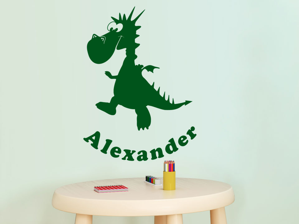 wandtattoo drache mit wunschname f rs kinderzimmer. Black Bedroom Furniture Sets. Home Design Ideas