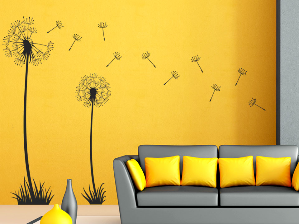 pusteblumen wandtattoo mit zwei pusteblumen. Black Bedroom Furniture Sets. Home Design Ideas