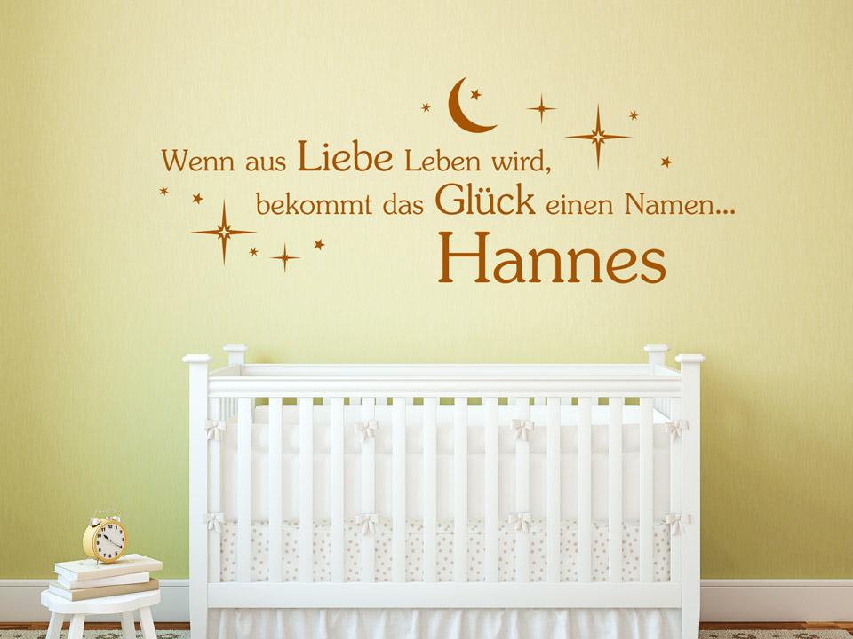 Wandtattoo Wenn aus Liebe Leben wird, bekommt das Glück einen Namen... | {Babyzimmer wand 18}