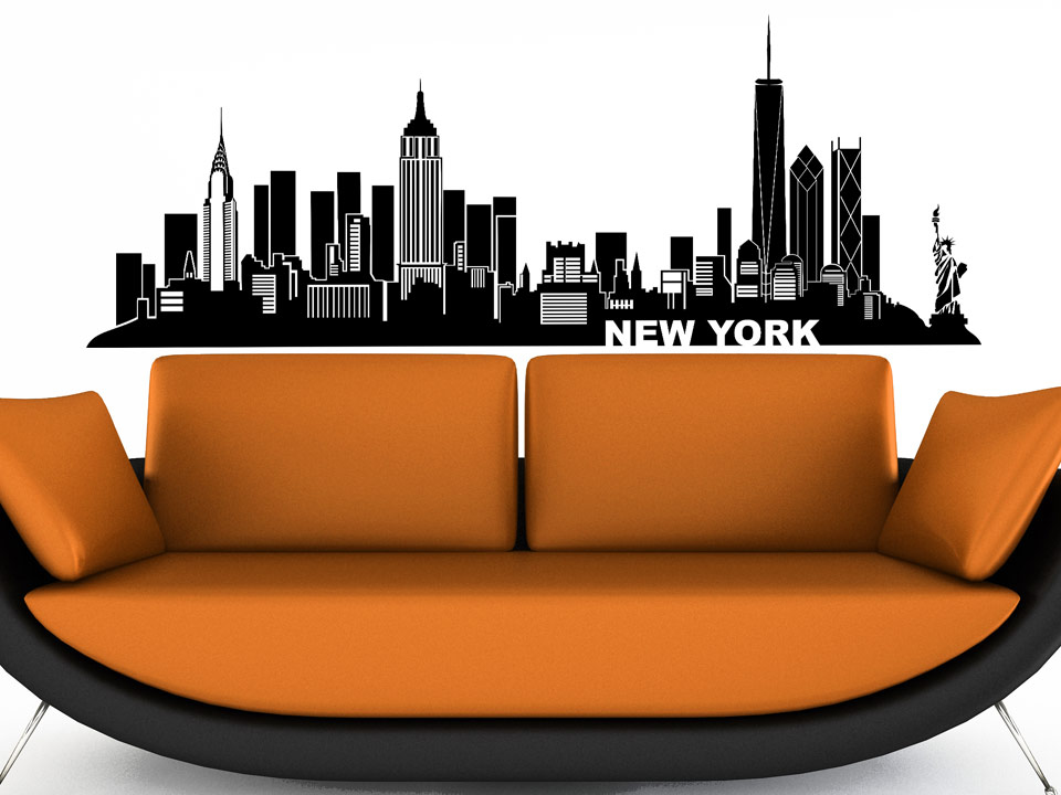 wandtattoo new york silhouette der skyline. Black Bedroom Furniture Sets. Home Design Ideas