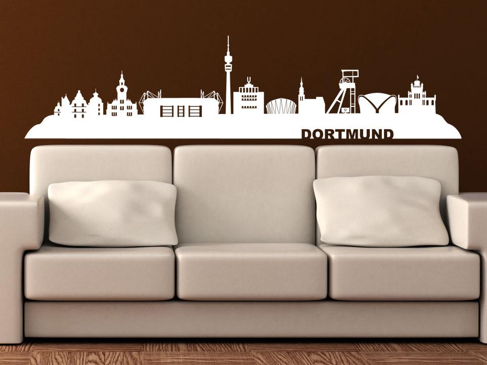 wandtattoo dortmund skyline mit stadion und sehensw rdigkeiten. Black Bedroom Furniture Sets. Home Design Ideas