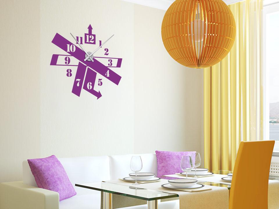 wandtattoo uhr modern mit uhrwerk und langen zeigern. Black Bedroom Furniture Sets. Home Design Ideas