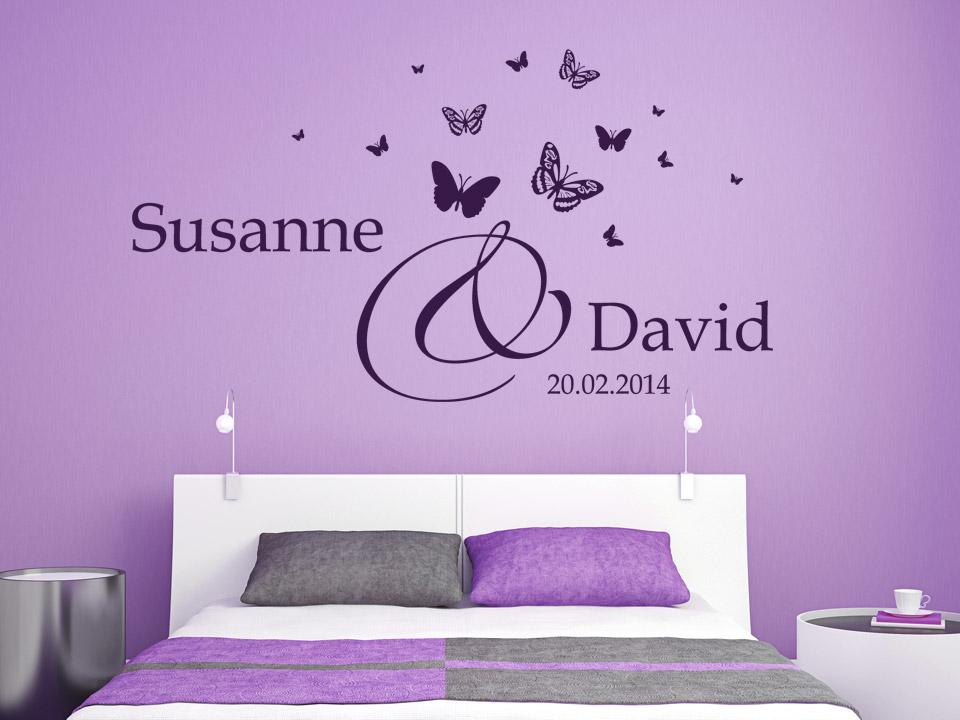 wandtattoo hochzeit namen mit schmetterlingen. Black Bedroom Furniture Sets. Home Design Ideas