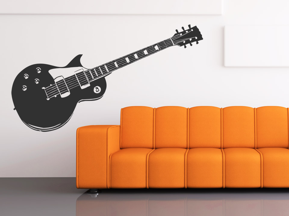 wandtattoo e gitarre. Black Bedroom Furniture Sets. Home Design Ideas