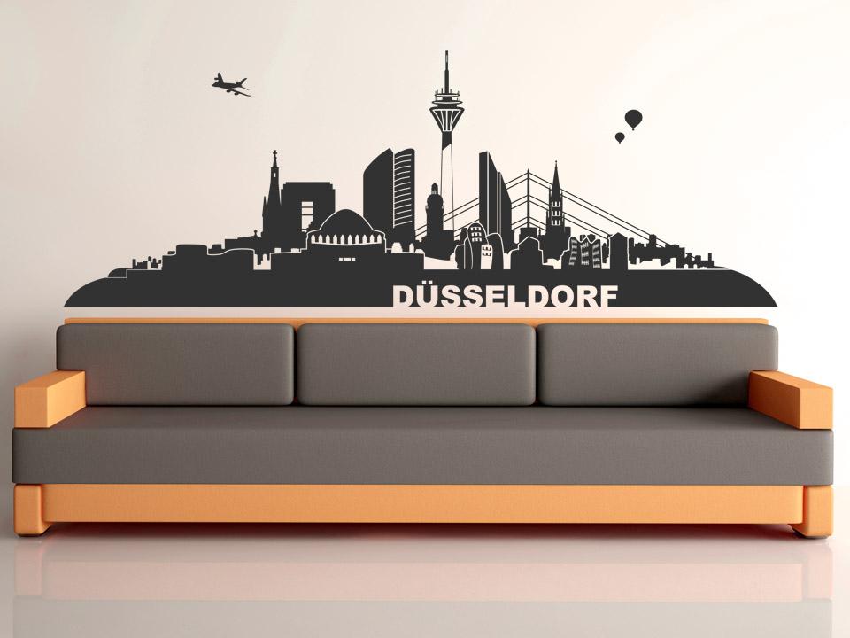 wandtattoo d sseldorf skyline. Black Bedroom Furniture Sets. Home Design Ideas
