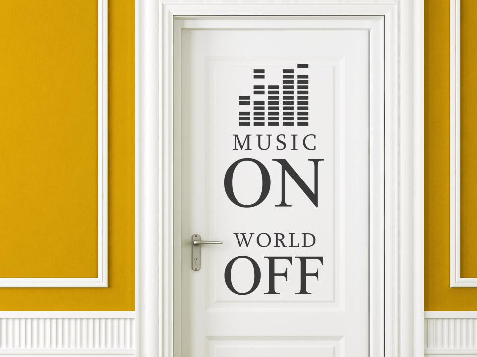 wandtattoo music on world off. Black Bedroom Furniture Sets. Home Design Ideas