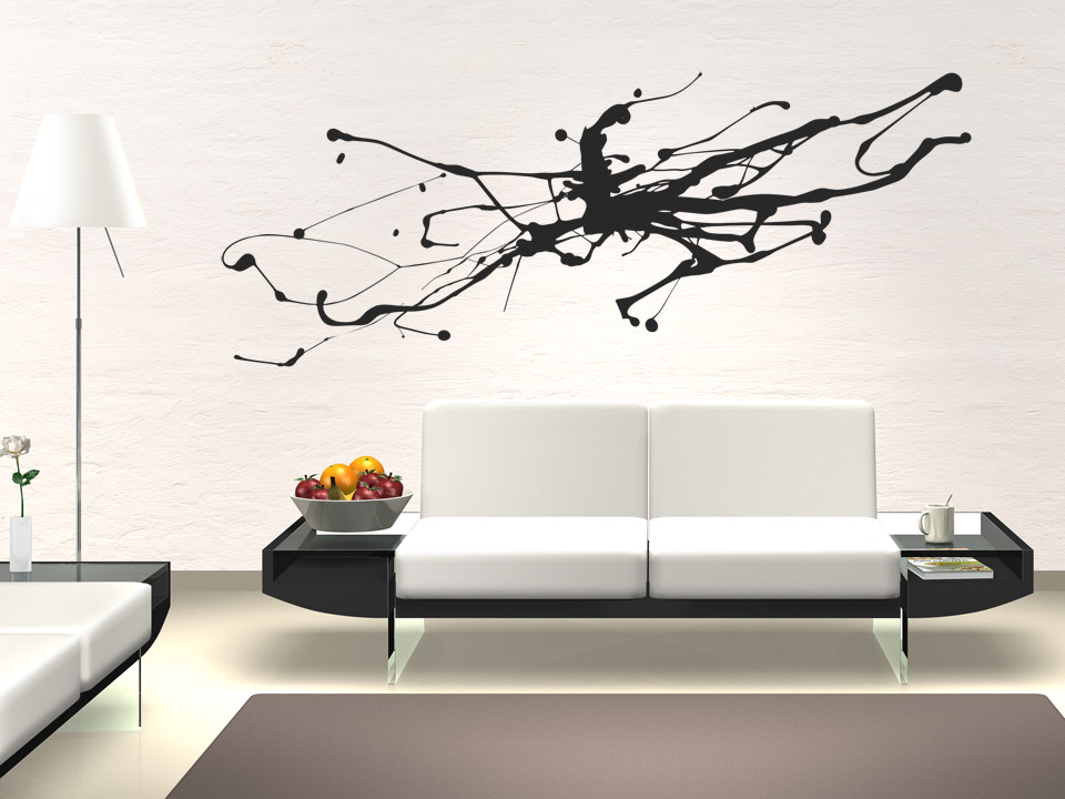wandtattoo abstrakte kunst moderner tintenfleck. Black Bedroom Furniture Sets. Home Design Ideas