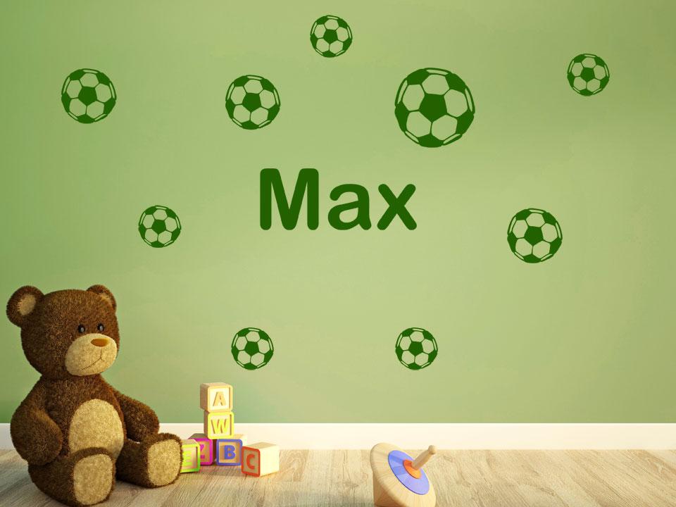 wandtattoo fußbälle mit name fürs kinderzimmer | wandtattoo.com - Wandtattoo Kinderzimmer Grun
