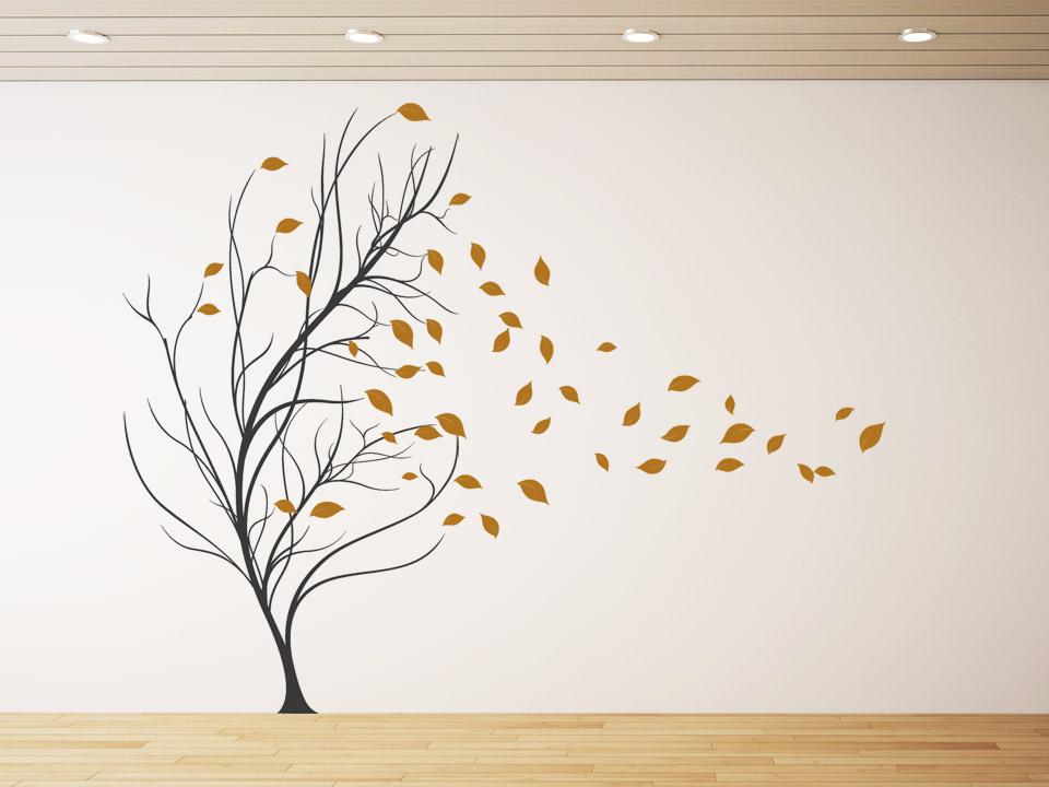 Wandtattoo Blätter Baum im Wind + fliegende Blätter | Wandtattoo.com