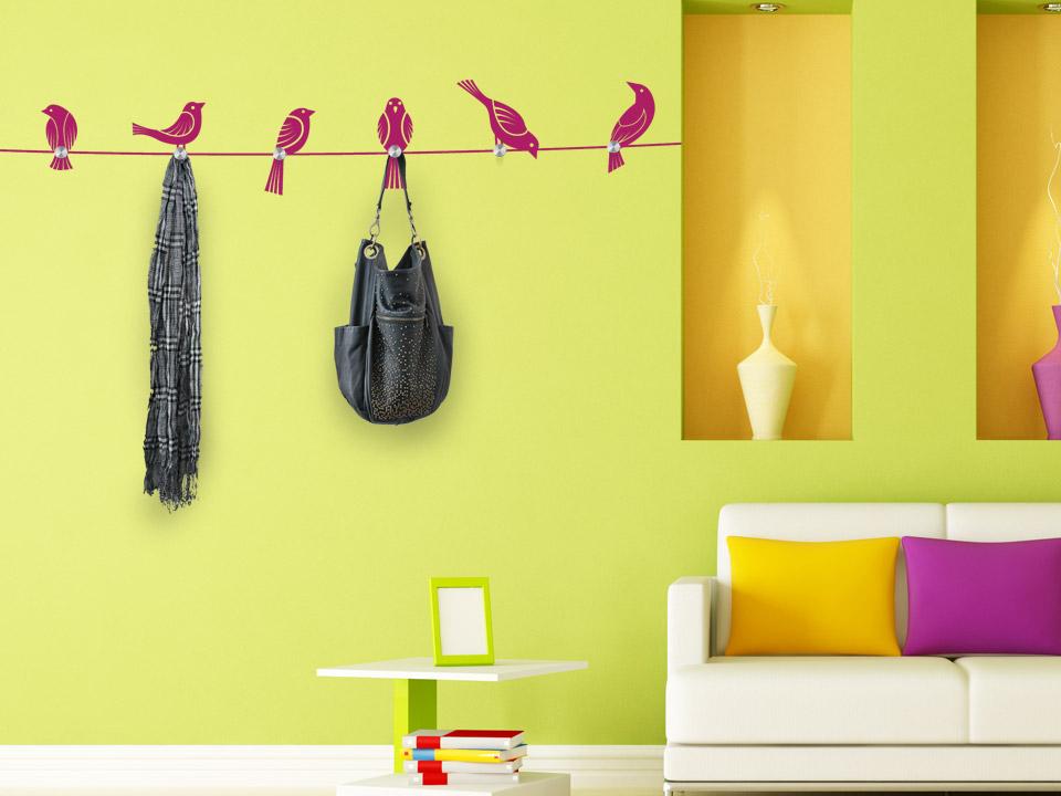 Wandtattoo garderobe v gel auf seil mit wandh nger - Garderobe idee ...
