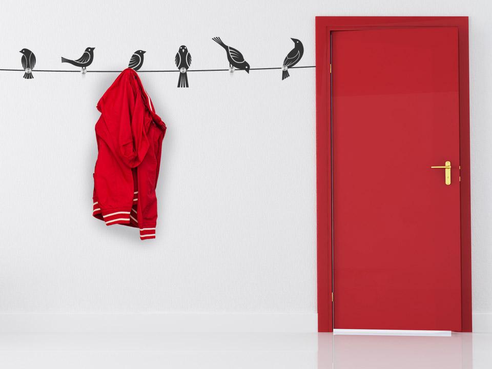 wandtattoo garderobe v gel auf seil mit wandh nger. Black Bedroom Furniture Sets. Home Design Ideas