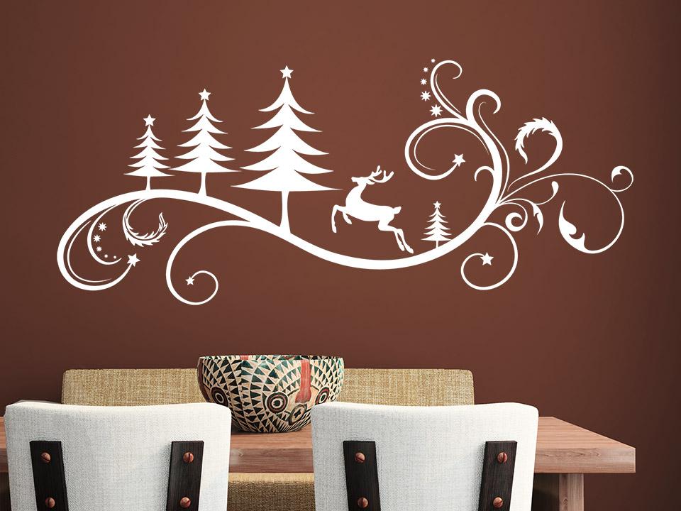 wandtattoo weihnachtliches ornament mit rentier und schn rkel. Black Bedroom Furniture Sets. Home Design Ideas