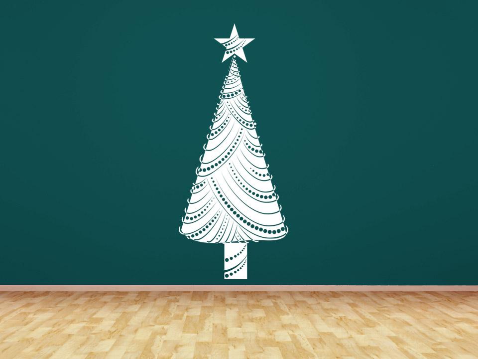 Wandtattoo moderner weihnachtsbaum mit stern - Weihnachtsbaum wand ...