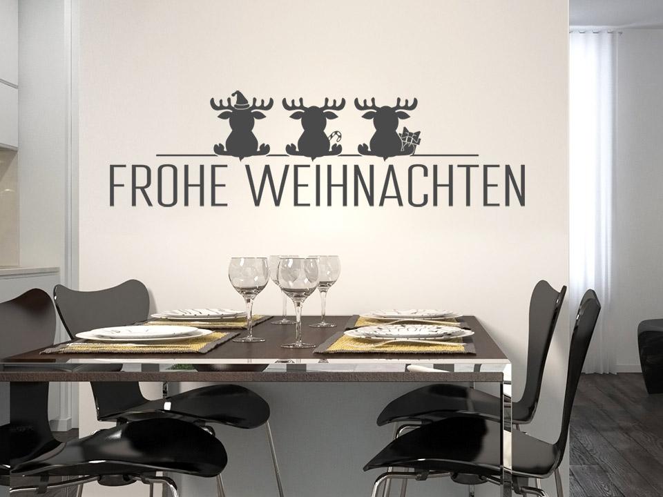 Wandtattoo Weihnachten-Schrift mit Elchen | Wandtattoo.com
