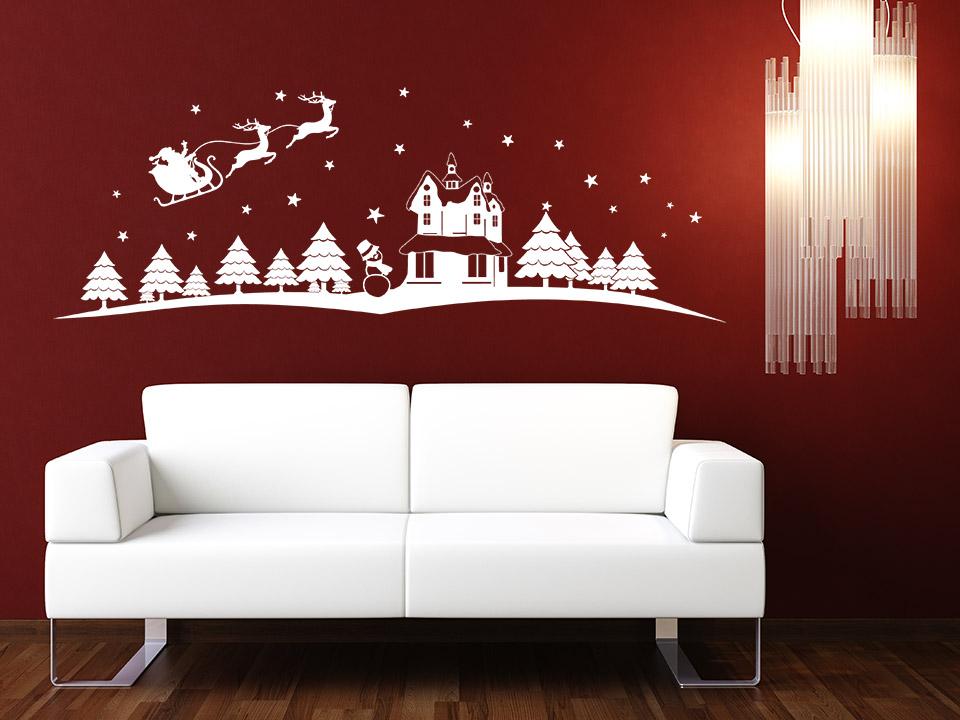 wandtattoo winterlandschaft mit schlitten. Black Bedroom Furniture Sets. Home Design Ideas