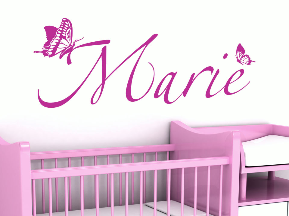 wandtattoo kindername mit schmetterlingen f rs kinderzimmer. Black Bedroom Furniture Sets. Home Design Ideas