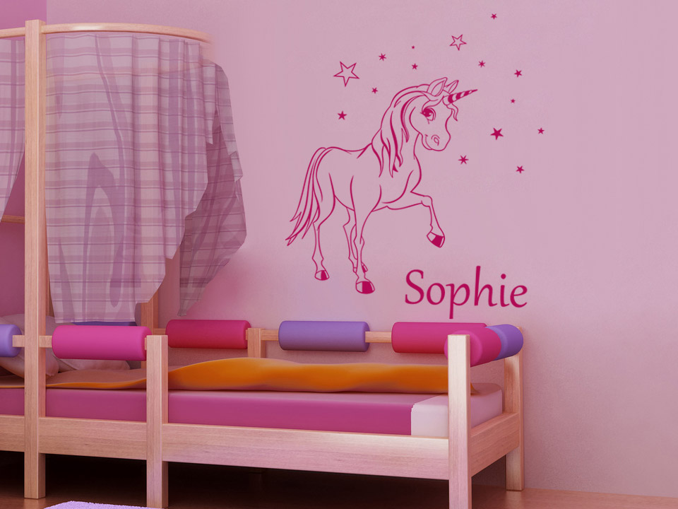 wandtattoo einhorn mit sternen und kindername. Black Bedroom Furniture Sets. Home Design Ideas