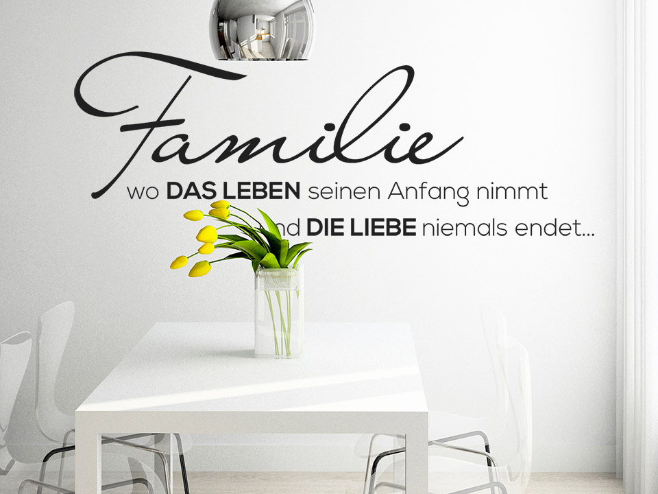 wandtattoo familie wo die liebe niemals endet. Black Bedroom Furniture Sets. Home Design Ideas