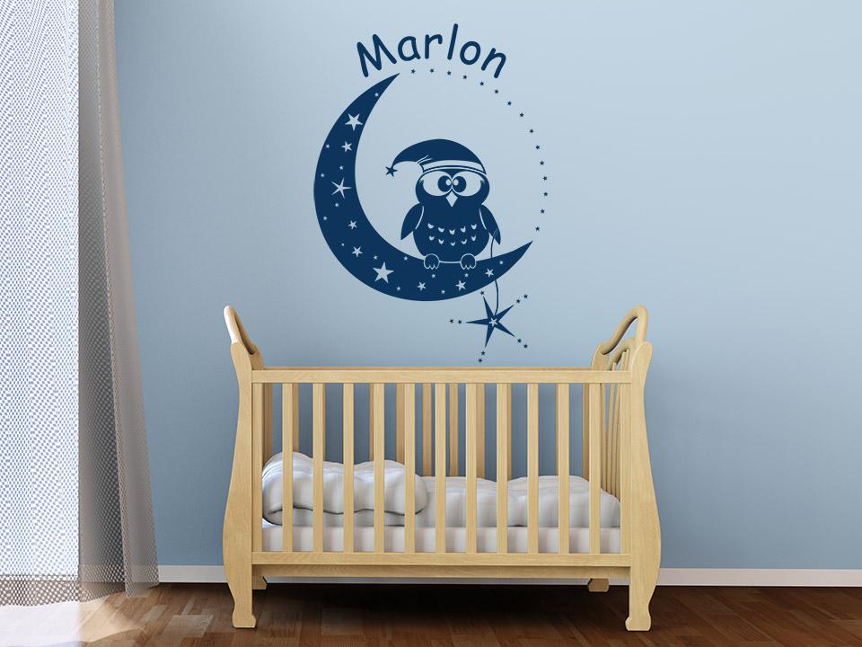 Wandtattoo Eule auf Mond mit Wunschnamen  Wandtattoo.com