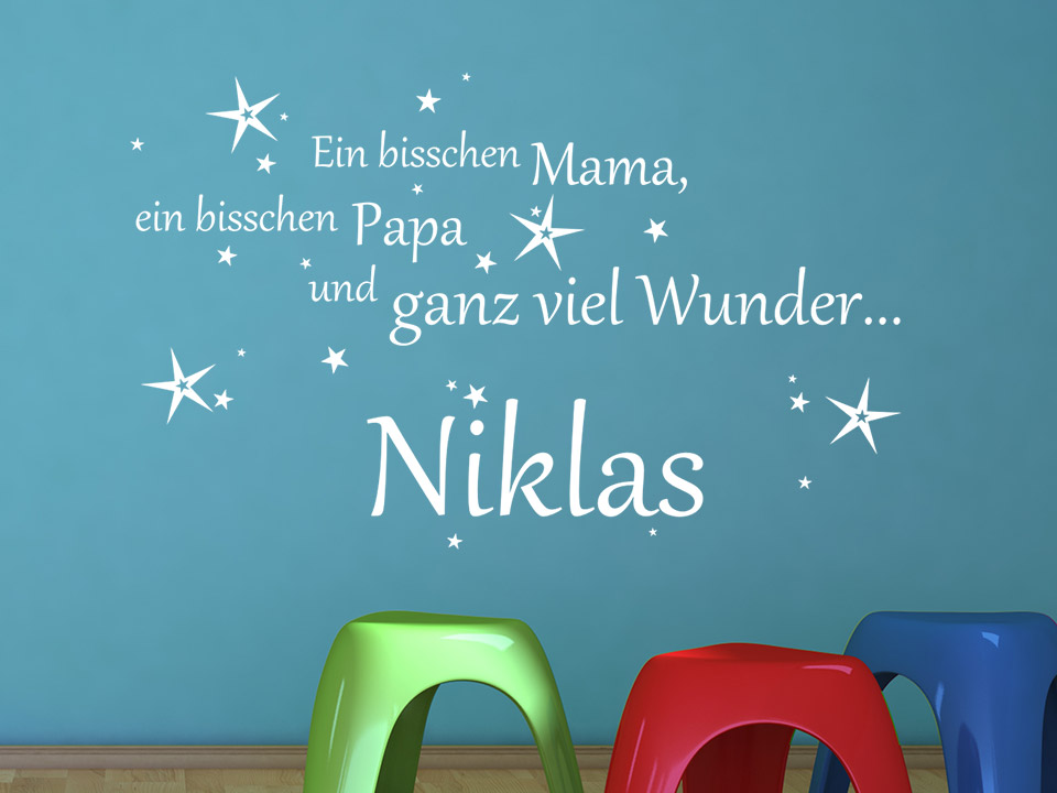 wandtattoo mama papa wunder mit wunschname f rs baby. Black Bedroom Furniture Sets. Home Design Ideas