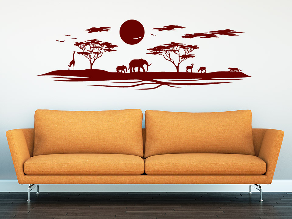 wandtattoo afrika mit elefanten und giraffe. Black Bedroom Furniture Sets. Home Design Ideas