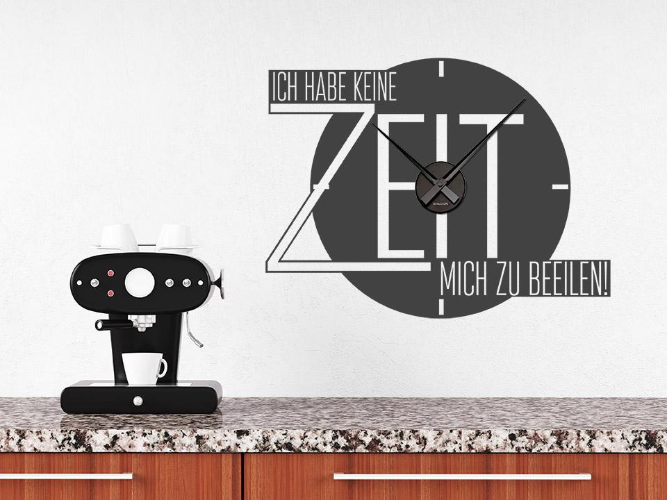 wandtattoo uhr ich habe keine zeit zum beeilen. Black Bedroom Furniture Sets. Home Design Ideas