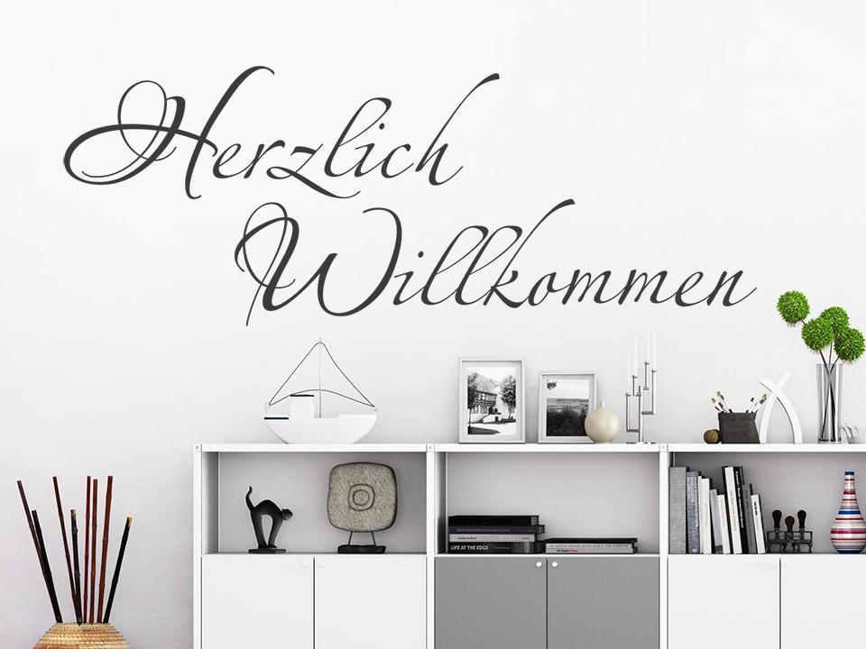 wandtattoo verschn rkeltes herzlich willkommen. Black Bedroom Furniture Sets. Home Design Ideas
