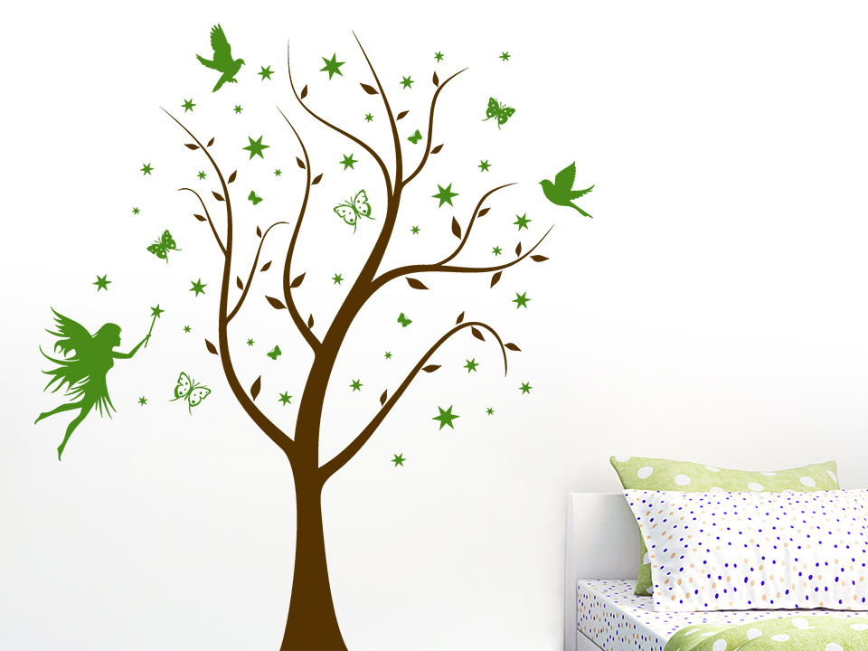 wandtattoo magischer baum mit fee. Black Bedroom Furniture Sets. Home Design Ideas