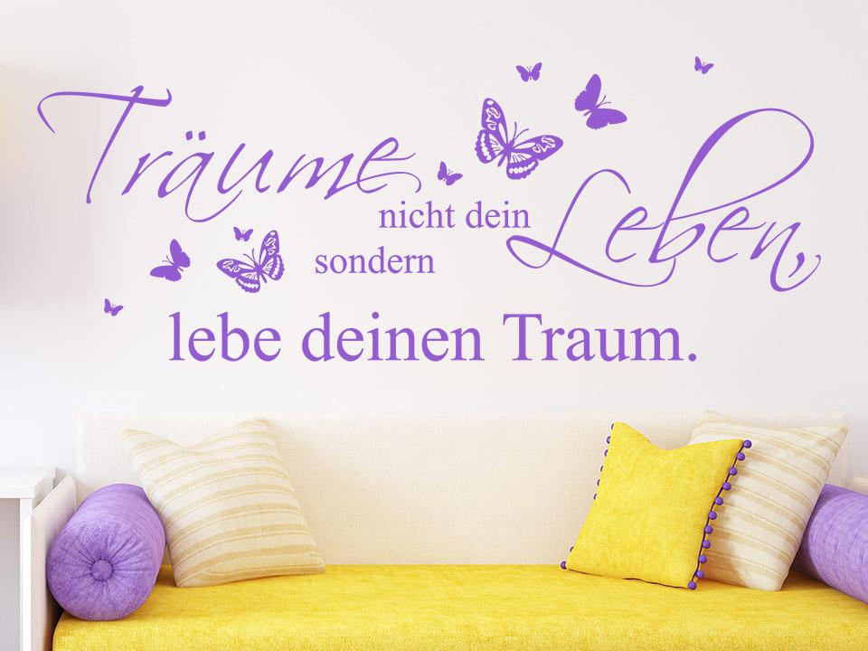 Wandspruch Lebe Deinen Traum Mit Schmetterlingen
