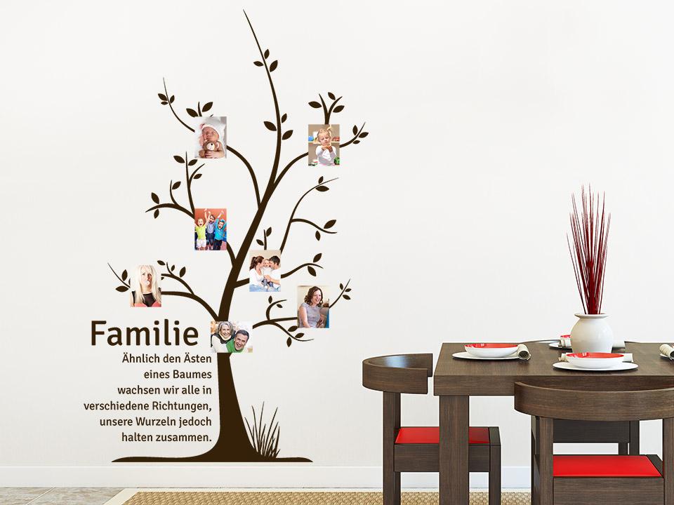 Wandtattoo fotobaum familie for Wandtattoo wohnzimmer selber machen
